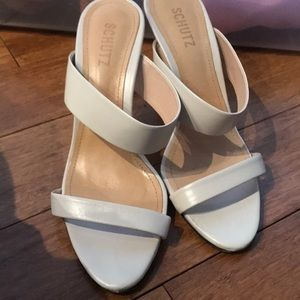 White double strap leather heel